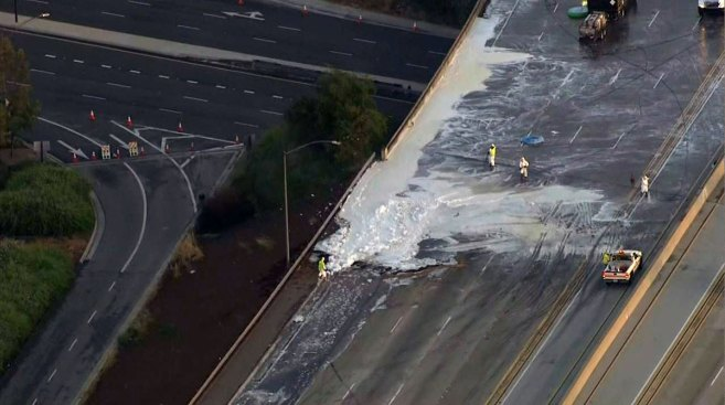 Tanker Crash, Fuel Spill Close Freeway for Nearly 12 Hours