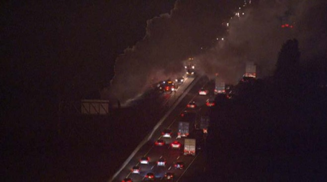 Big-Rig Catches Fire on 710 Fwy Near Willow