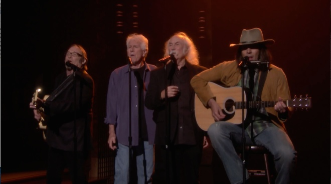 Crosby, Stills, Nash & Young reunite (sort of) for a stirring rendition of Iggy Azalea's hit song,
