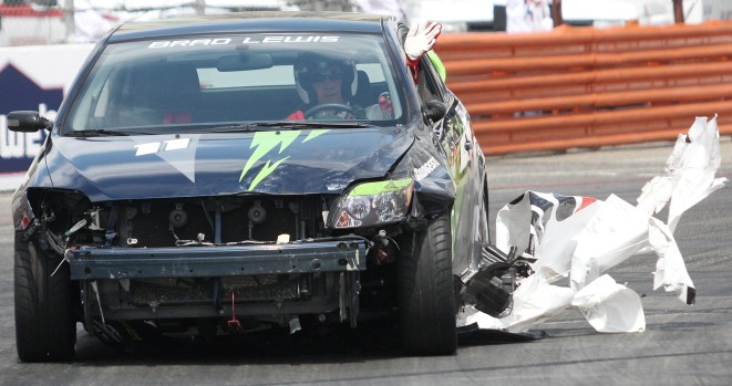 Stars and Their Wrecked Cars at Long Beach GP