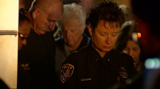Dozens of residents and law enforcement attended a vigil Thursday night for a Riverside police officer allegedly killed by Christopher Dorner, a disgruntled former LAPD officer suspected of targeting his former colleagues. Janet Kwak reports for the NBC4 News at 11 p.m. on Feb. 7, 2013.
