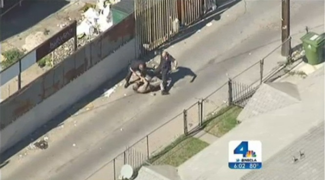 A dangerous pursuit led police through the streets of Los Angeles on Friday. Three suspects are in custody after bailing from the vehicle in South LA. Hetty Chang reports from South LA for the NBC4 News at 5 and 6 p.m. on March 1, 2013.