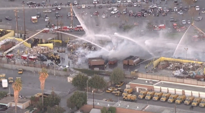 Firefighters Battle Blaze at Recycling Plant in South Los Angeles