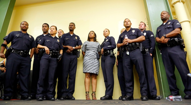 Rodney King's Daughter Stands Side-by-Side With LAPD Officers
