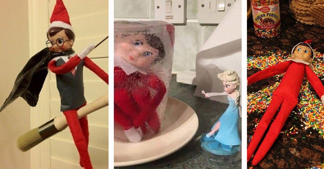 Sneaky: Elf on the Shelf Ideas in Photos