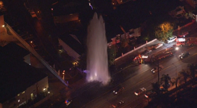 Water Gushes 50+ Feet in the Air From Sheered Hydrant