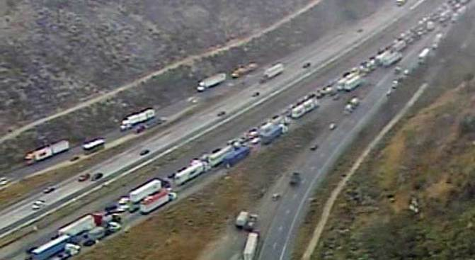 50-Vehicle Pileup Closes 15 Freeway