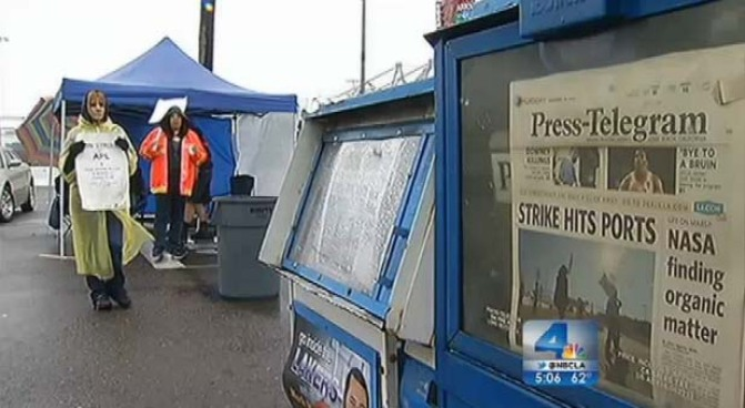 Day three of a clerical strike brought delays at the Ports of Los Angeles and Long Beach as dockworkers refused to cross the picket lines. The dispute could soon be a matter for the White House. Patrick Healy reports from Downtown LA for the NBC4 News at 5 p.m. on Nov. 29, 2012.