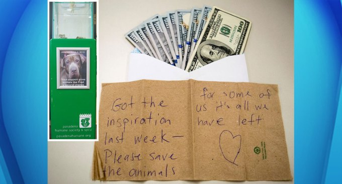 Second Mystery Donor Leaves Pile of Cash in Donation Box at Pasadena Humane Society