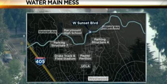 [LA] Traffic Affected by Massive Water Main Break Near UCLA