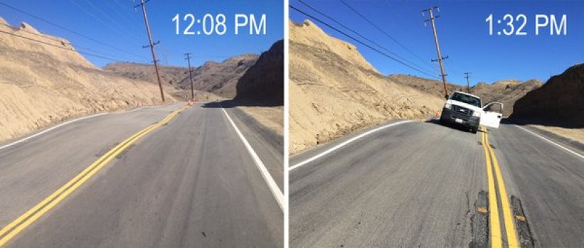 [LA GALLERY] IMAGES: Landslide Lifts Road Near Santa Clarita