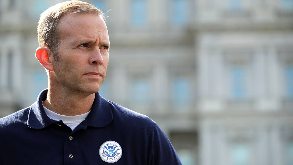 This Sept. 26, 2017, file photo shows Federal Emergency Management Agency Administrator Brock Long talks to reporters outside the White House about the response to hurricanes Maria and Irma in Puerto Rico.