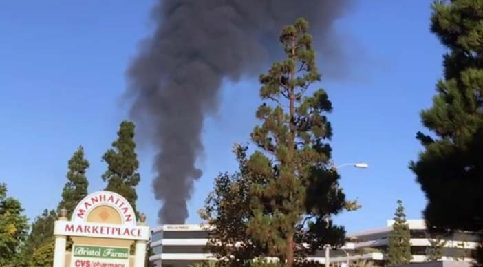 A flare-off at the El Segundo Refinery produced a column of smoke that could be seen Monday Sept 17, 2018 from around the South Bay.