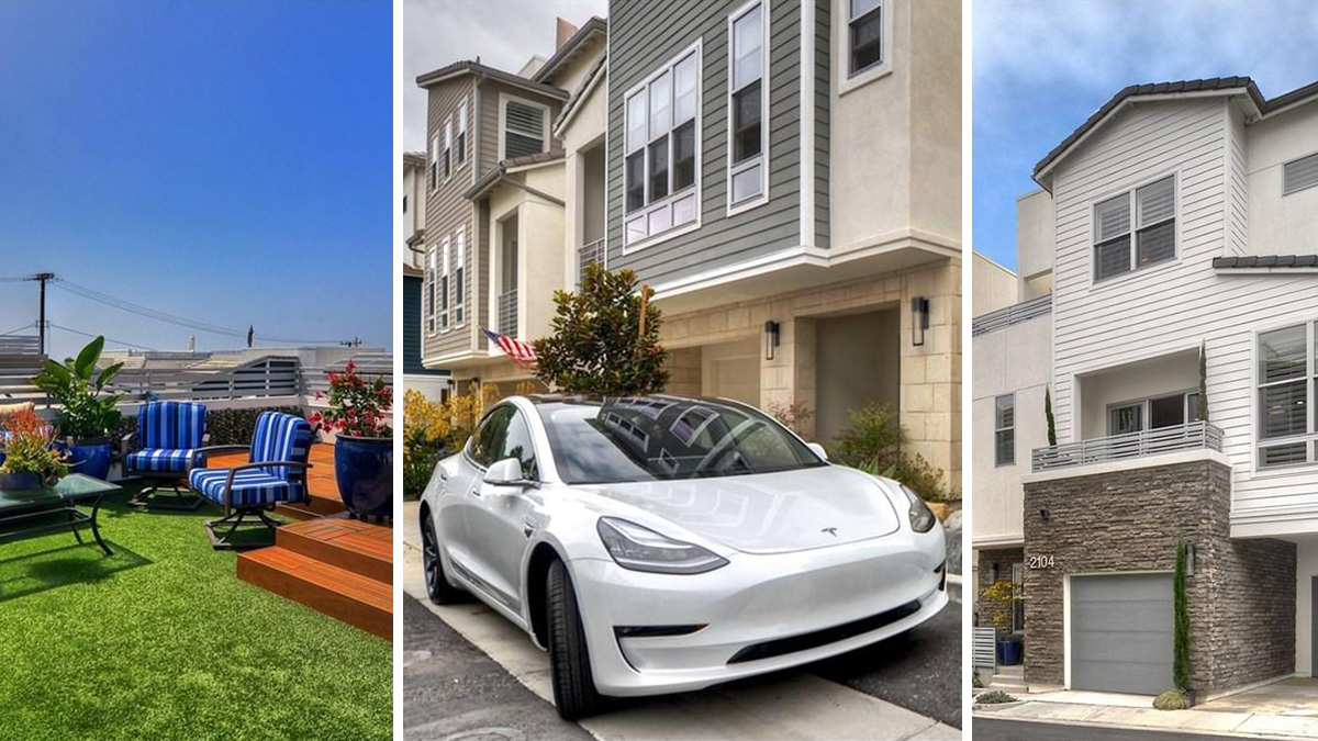 The Tesla Model 3 pictured here is part of the $1.39 asking price for a Costa Mesa condo.
