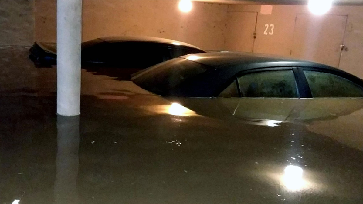 A water main break flooded an underground carport Tuesday Sept. 25, 2018 in Van Nuys.