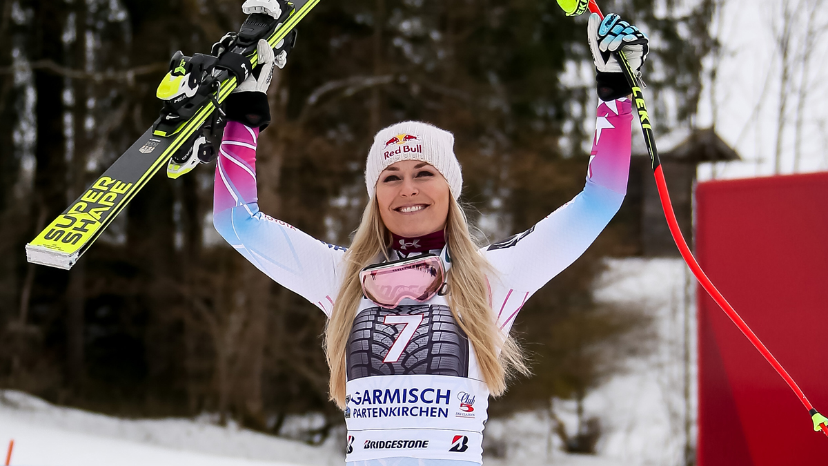 In this Feb. 4, 2018, file photo, Lindsey Vonn celebrates her first-place finish during the Audi FIS Alpine Ski World Cup Women's Downhill in Garmisch-Partenkirchen, Germany.