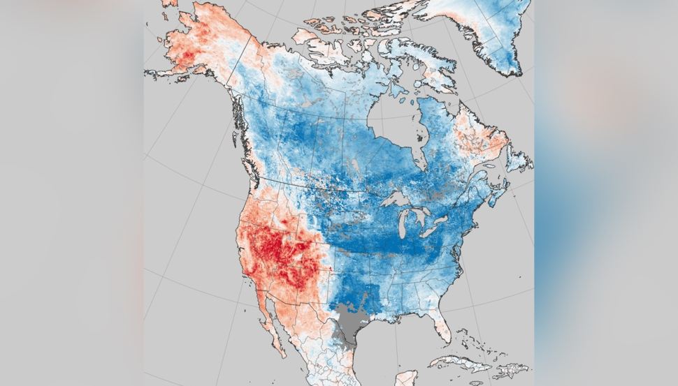 NASA Land Surface Temperature Map Shows Where the Cold Ends and Above-Average Western Warmth Begins
