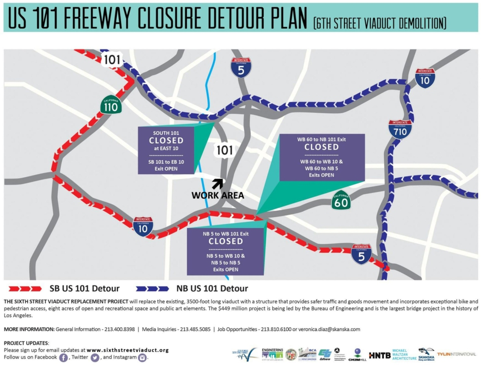 Stretch Of Freeway To Temporarily Close Feb Detours - Us 101 map