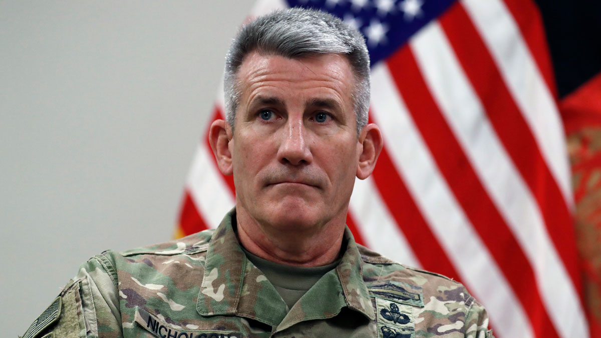 Gen. John Nicholson, commander of Resolute Support, is seen during a media availability with Secretary of State Rex Tillerson and Special Charge d'Affaires Amb. Hugo Llorens, Monday, Oct. 23, 2017, at Bagram Air Field, Afghanistan.