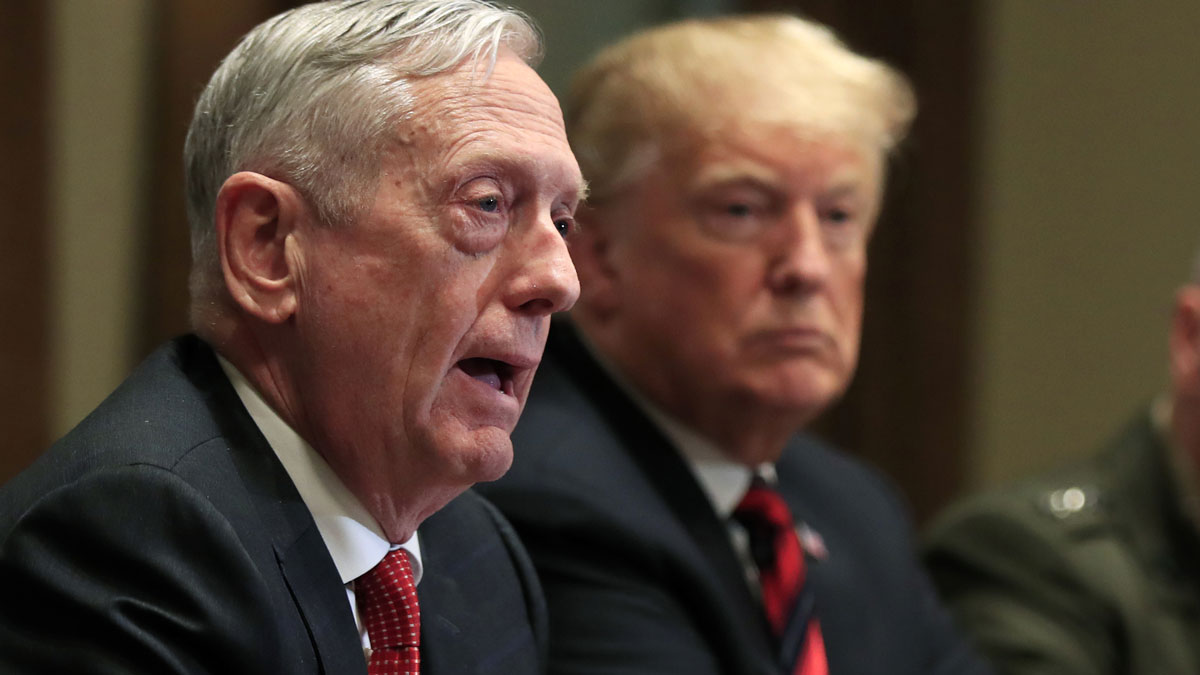 This Oct. 23, 2018, file photo shows Defense Secretary Jim Mattis (left) and President Donald Trump at a briefing with senior military leaders in the Cabinet Room at the White House in Washington.