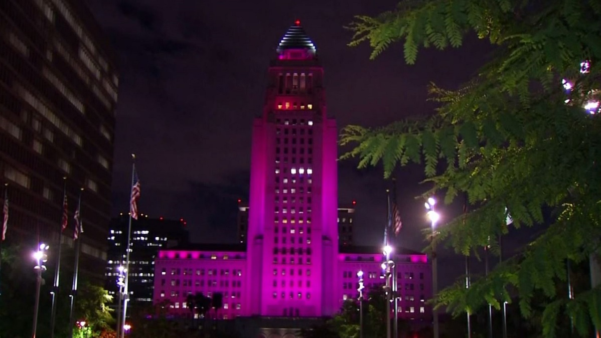 LA City Hall goes pink in honor of Breast Cancer Awareness on Oct. 2, 2018.