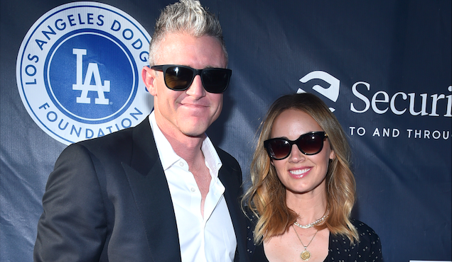 Chase Utley and Jennifer Utley attend the Fourth Annual Los Angeles Dodgers Foundation Blue Diamond Gala at Dodger Stadium.