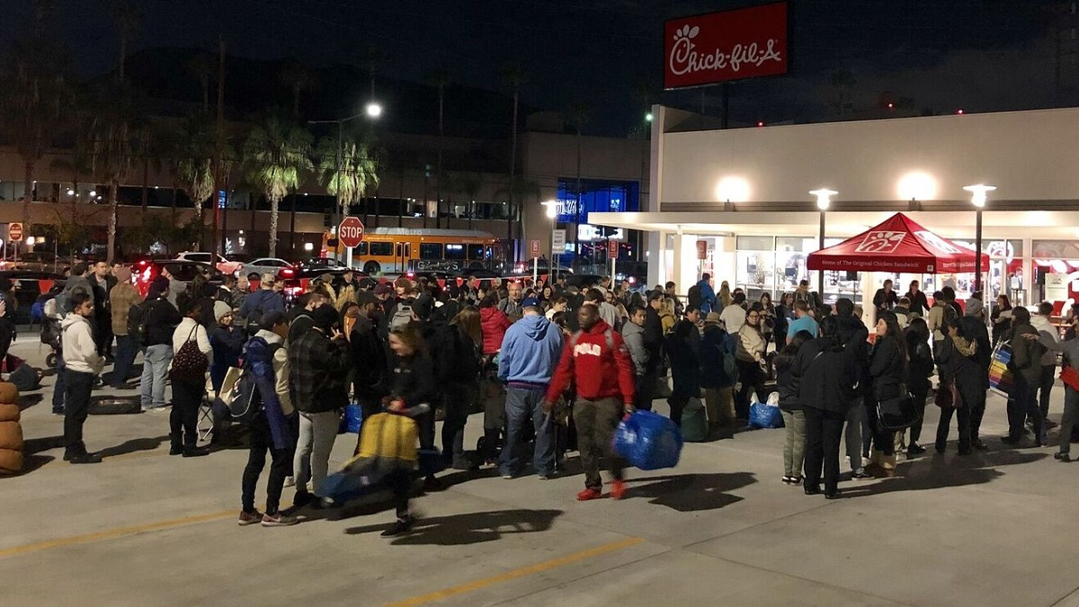 Over 100 people lineup outside a Chic-fil-A in Burbank ahead of a campout to win 52 combo meals for the year on Jan. 9, 2019.