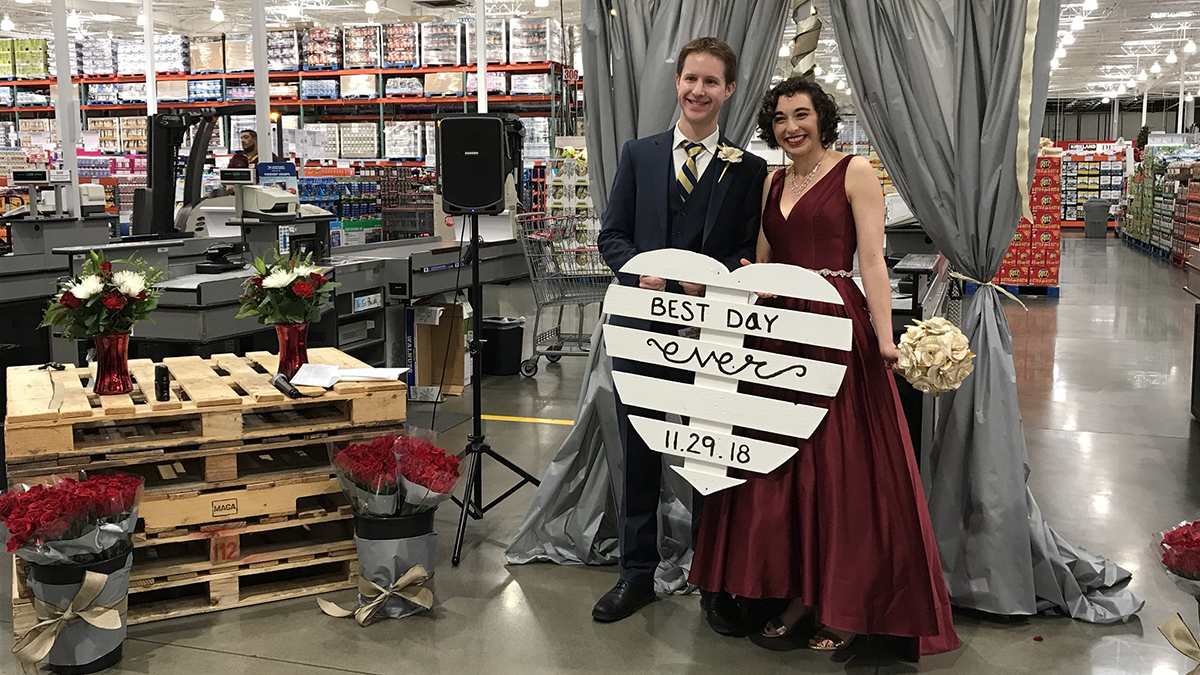 Costco is a special place for the bride and the groom: it's where they had their first date three years ago.