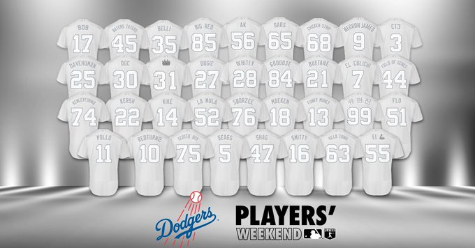 Dodgers Unveil White Players' Weekend Jerseys