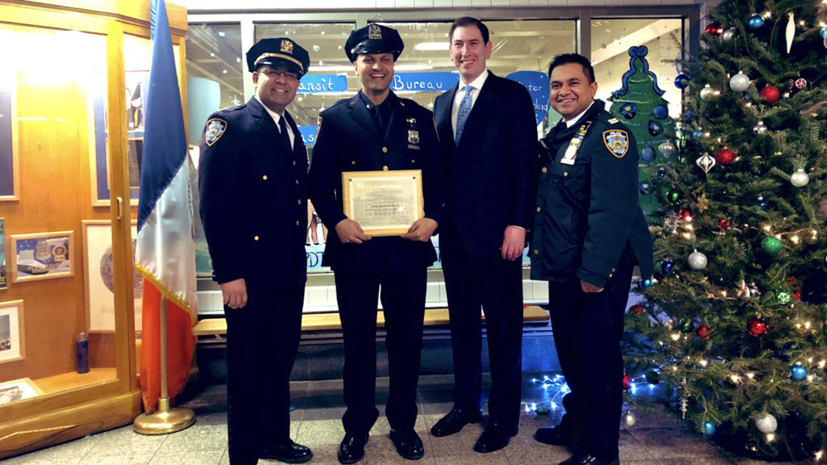 NYPD officer Syed Ali honored at the NYPD Transit Task Force in North Brooklyn
