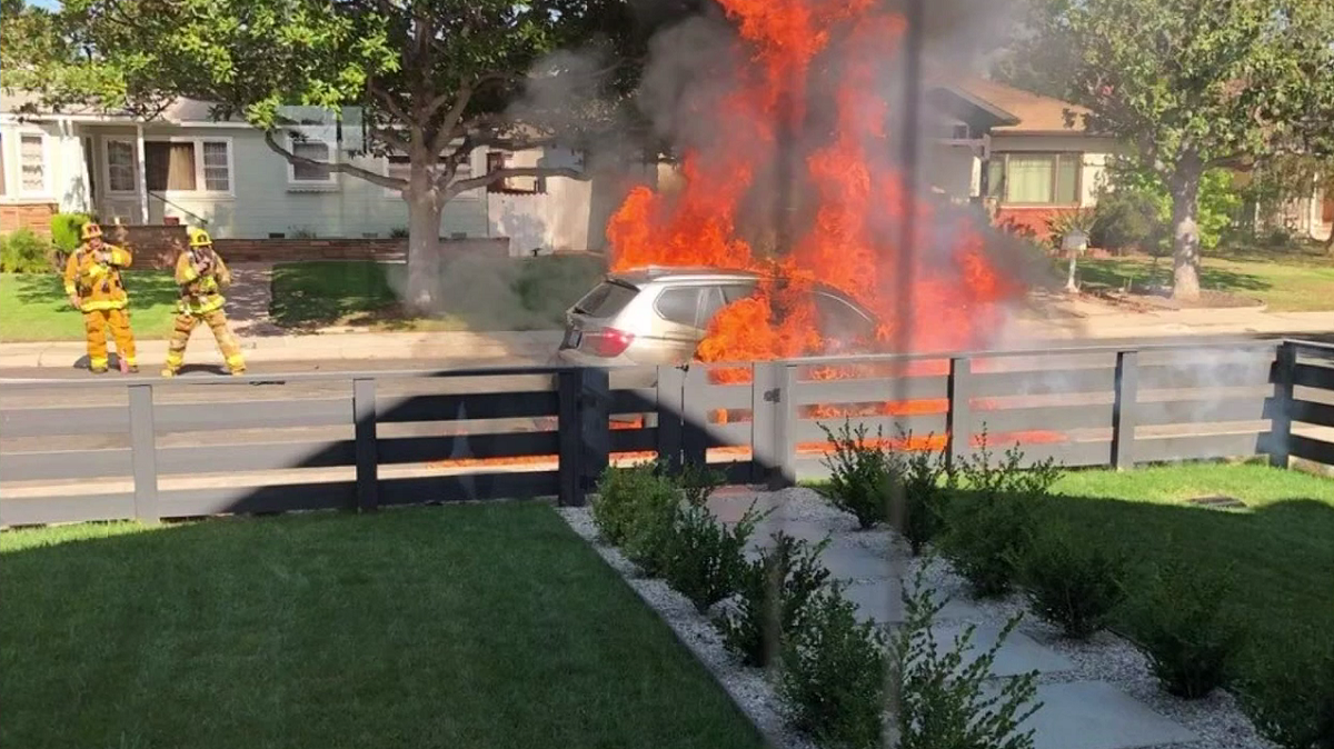 BMW Bursts into Flames Parked on LA Street