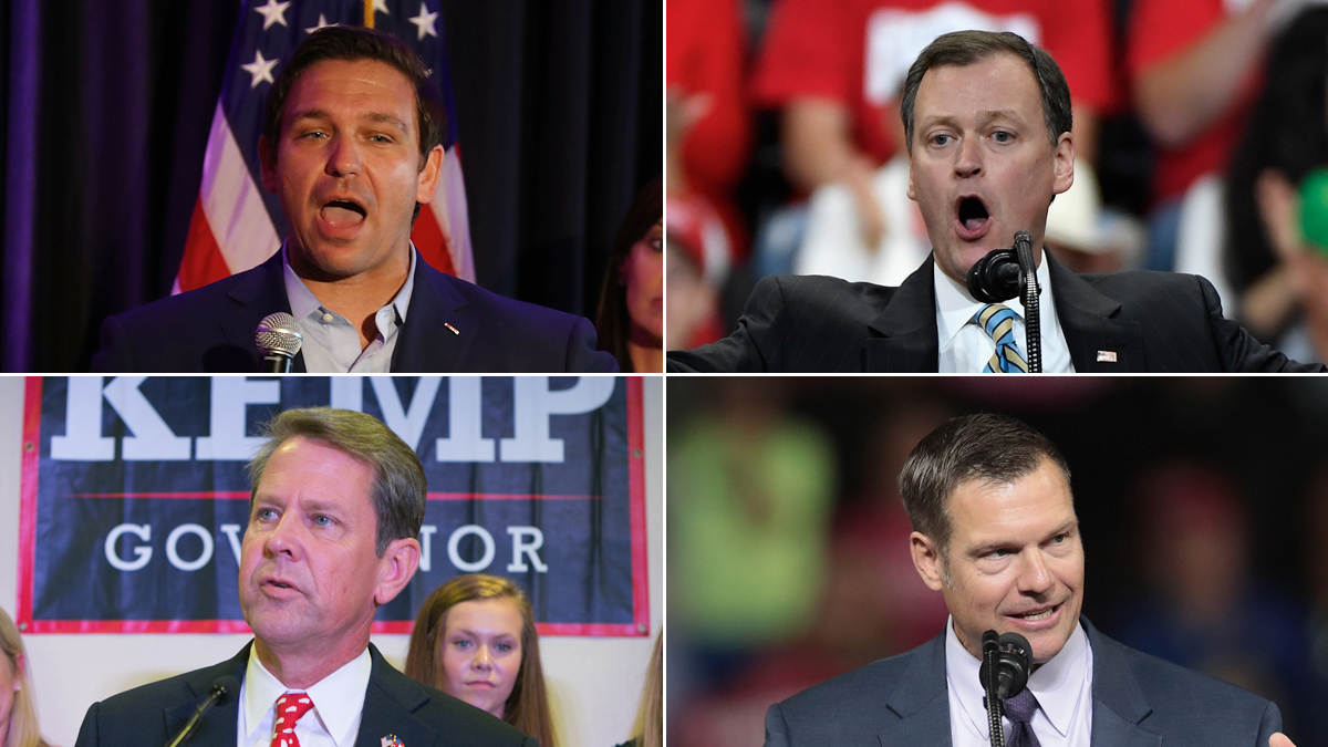 Gubernatorial candidates endorsed by President Donald Trump include (clockwise from top-left) Ron DeSantis for Florida, Jeff Johnson for Minnesota, Kris Kobach for Kansas and Brian Kemp for Georgia.