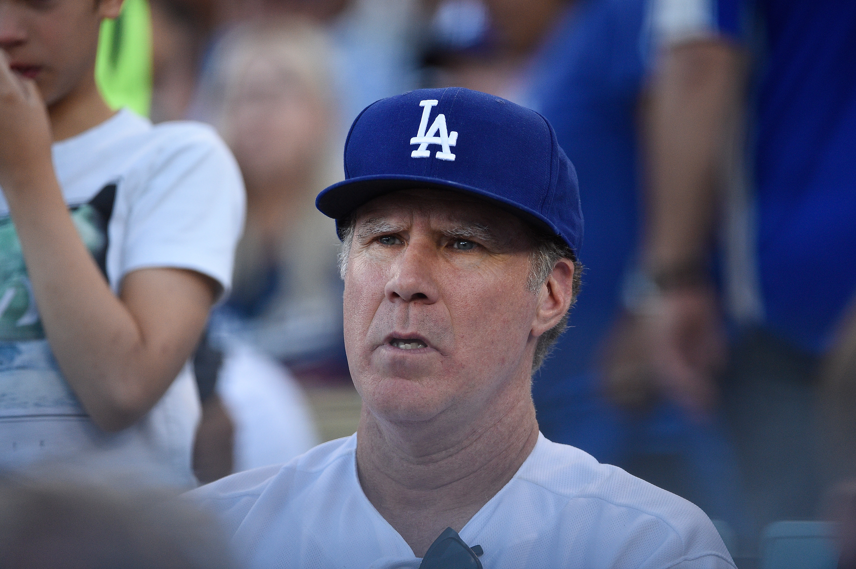 Actor Will Ferrell attends Game Three of the National League Championship Series between the Milwaukee Brewers and the Los Angeles Dodgers at Dodger Stadium on October 15, 2018 in Los Angeles, California. (Photo by Kevork Djansezian/Getty Images)