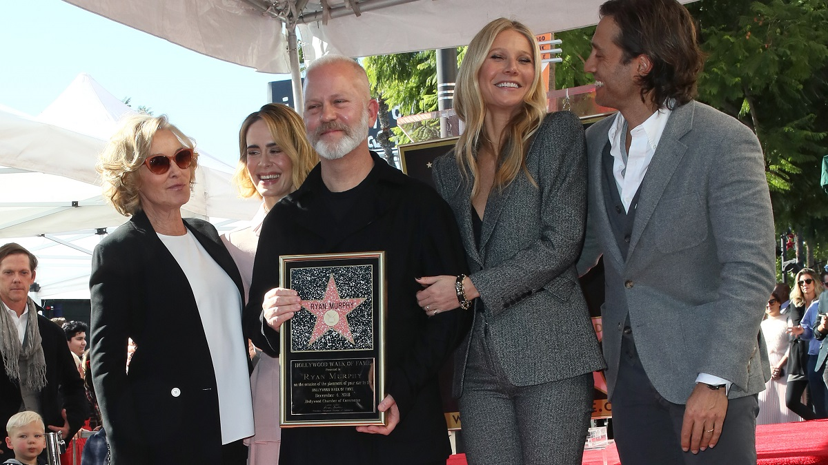 (L-R) Jessica Lange, Sarah Paulson, Ryan Murphy, Gwyneth Paltrow and Brad Falchuk attend a ceremony honoring Ryan Murphy with a star on The Hollywood Walk of Fame on December 04, 2018 in Hollywood, California. (Photo by David Livingston/Getty Images)