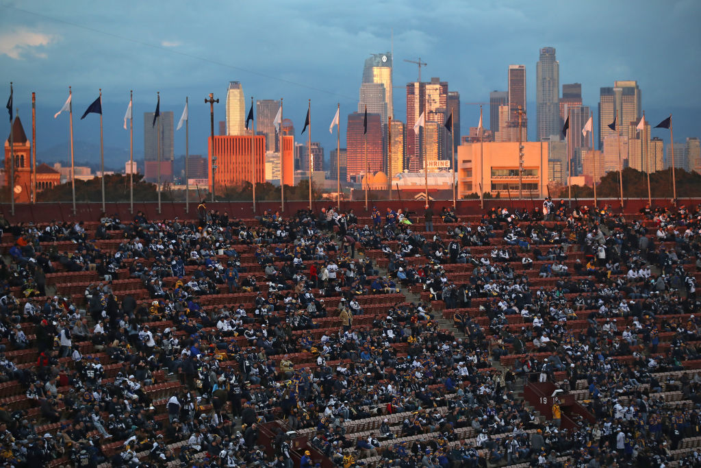 LOS ANGELES, CA - JANUARY 12: The skyline is seen as fans look on before the NFC Divisional Playoff game between the Los Angeles Rams and the Dallas Cowboys at Los Angeles Memorial Coliseum on January 12, 2019 in Los Angeles, California. (Photo by Sean M. Haffey/Getty Images)