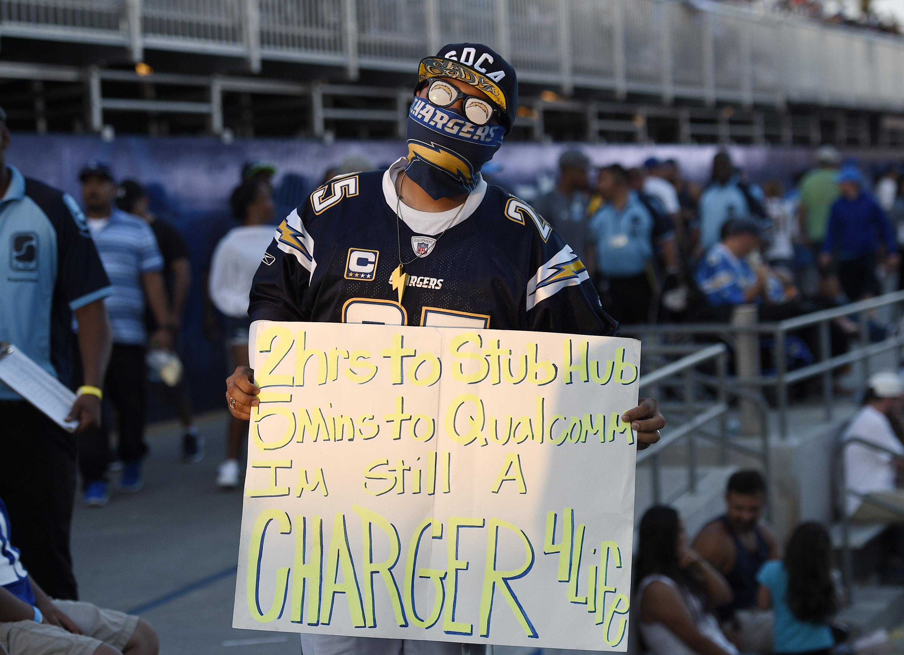 A fan holds a sign as the Los Angeles Chargers make their StubHub Center debut against Seattle Seahawks August 13, 2017, in Carson, California. (Photo by Kevork Djansezian/Getty Images)