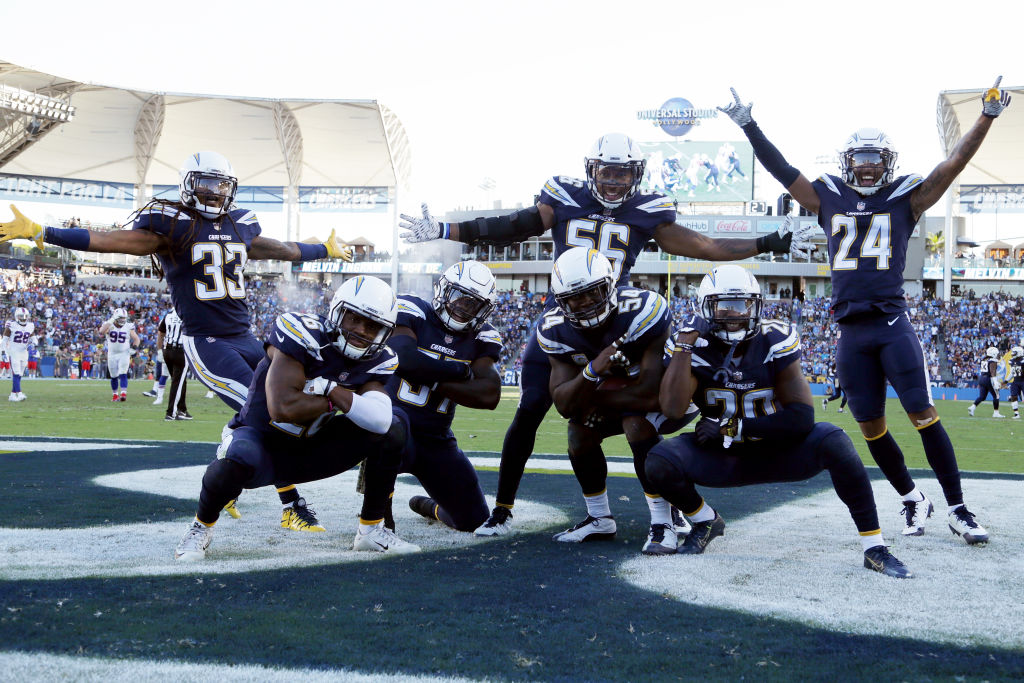 The Los Angeles Chargers defense celebrate after an interception during the NFL game against the Buffalo Bills at the StubHub Center on November 19, 2017 in Carson, California. (Photo by Jeff Gross/Getty Images)