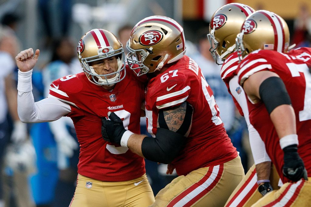 Kicker Robbie Gould (left) has had two fine seasons with the 49ers, but could now become an unrestricted free agent. (Photo by Jason O. Watson/Getty Images)