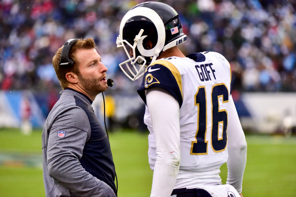 Head Coach Sean McVay talks to Quarterback Jared Goff #16 of the Los Angeles Rams in a game against the Tennessee Titians at Nissan Stadium on December 24, 2017 in Nashville, Tennessee. (Photo by Frederick Breedon/Getty Images)