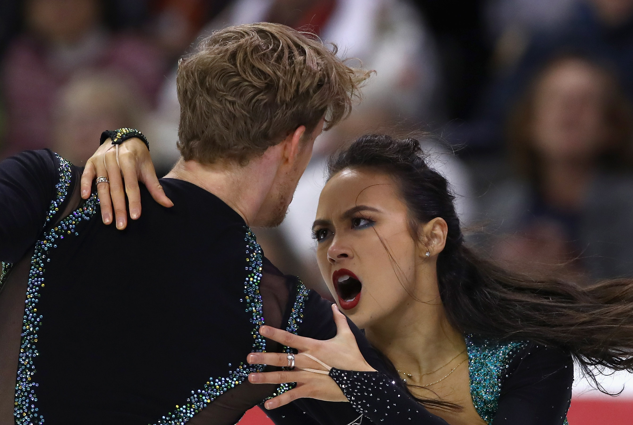 Madison Chock and Evan Bates compete in the Championship Dance Short Program during Day 3 of the 2018 Prudential U.S. Figure Skating Championships at SAP Center at SAP Center at SAP Center on January 5, 2018 in San Jose, California. (Photo by Ezra Shaw/Getty Images)