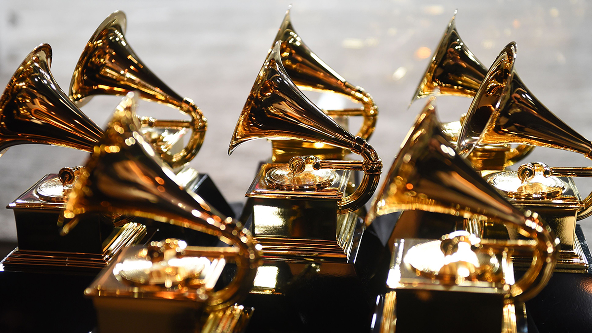 Grammy trophies sit in the press room during the 60th Annual Grammy Awards on Jan. 28, 2018, in New York.