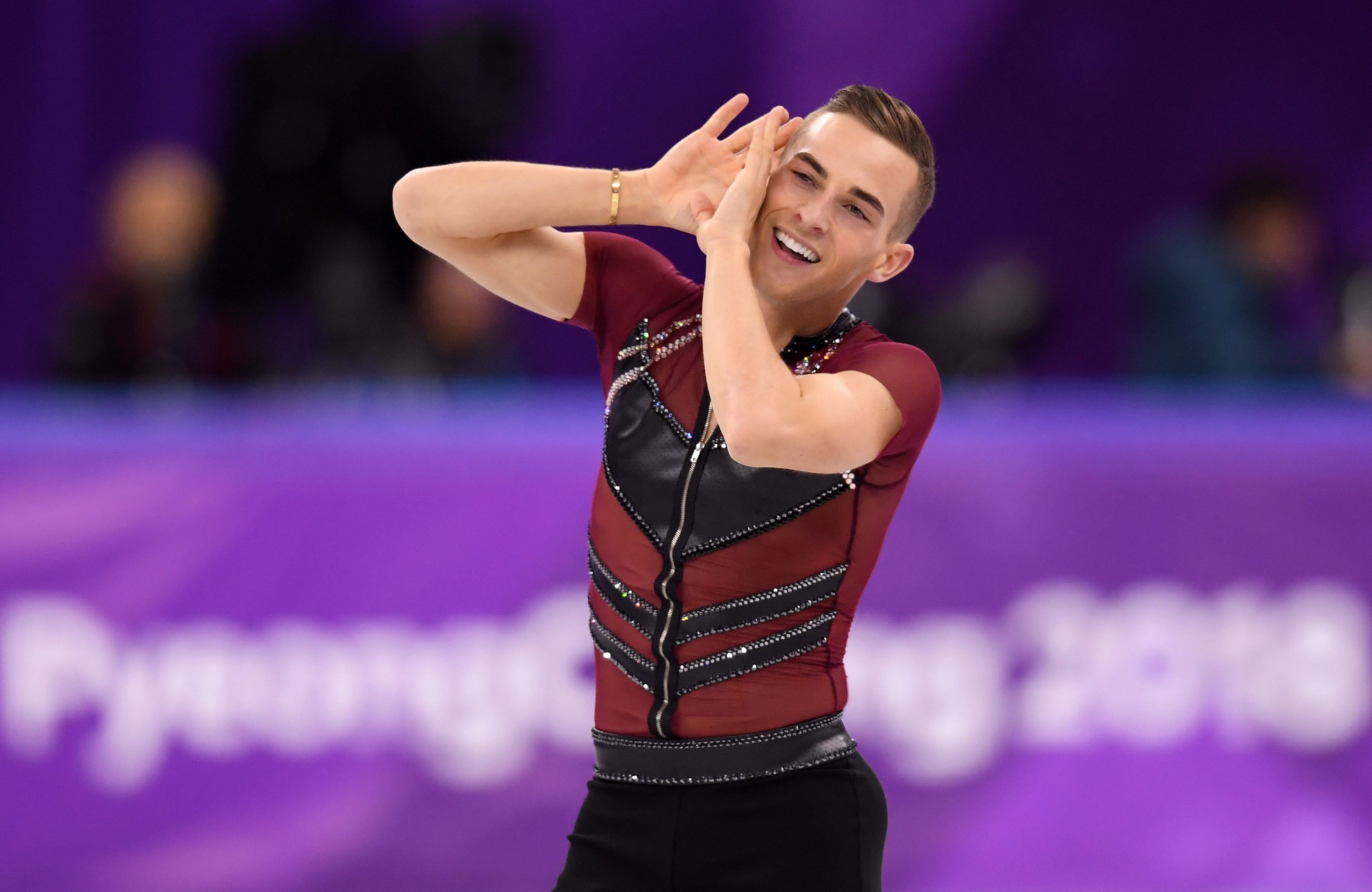 GANGNEUNG, SOUTH KOREA - FEBRUARY 16: Adam Rippon of the United States competes during the Men's Single Skating Short Program at Gangneung Ice Arena on February 16, 2018 in Gangneung, South Korea. (Photo by Harry How/Getty Images)