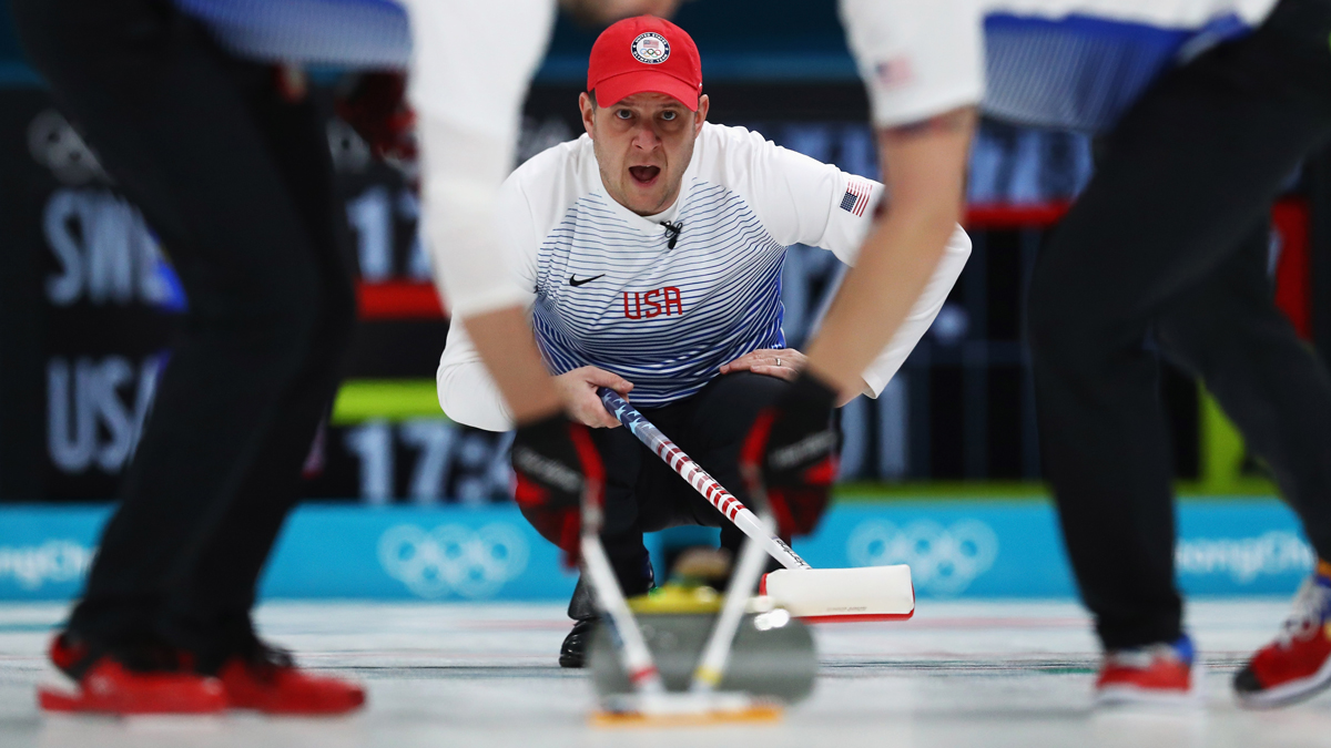 John Shuster of the USA competes in the Curling Men's Round Robin Session 4 held at Gangneung Curling Centre on Feb. 16, 2018, in Gangneung, South Korea.