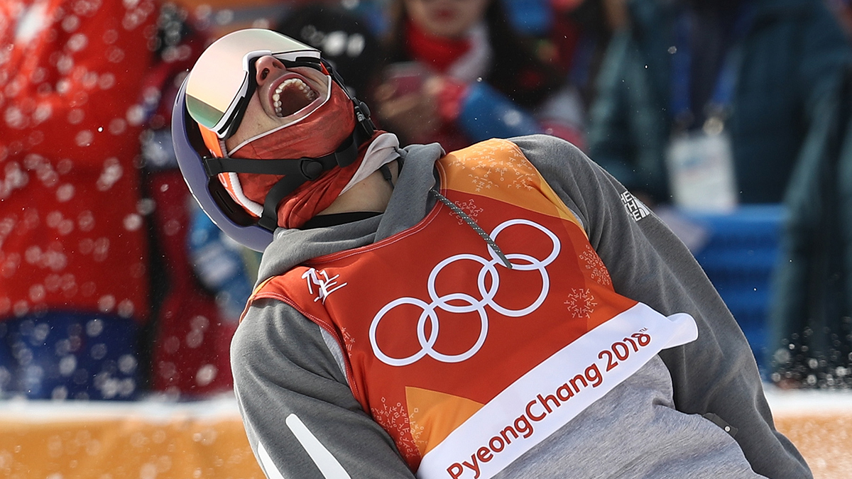 Nick Goepper celebrates his silver medal win during the Freestyle Skiing Men's Ski Slopestyle Final on day nine of the 2018 Winter Olympic Games at Phoenix Snow Park on Feb. 18, 2018, in Pyeongchang-gun, South Korea.