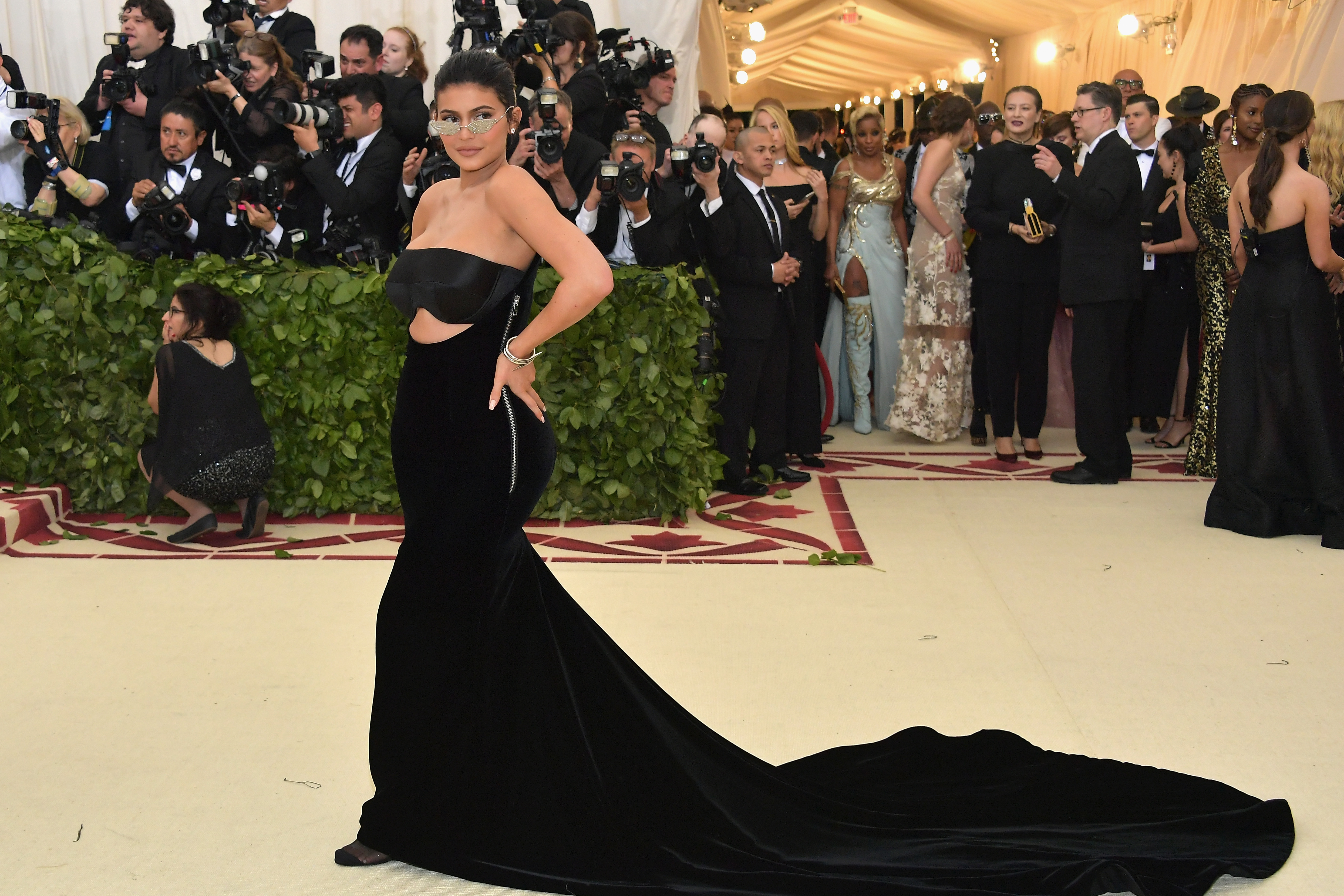 Kylie Jenner attends the Heavenly Bodies: Fashion & The Catholic Imagination Costume Institute Gala at The Metropolitan Museum of Art on May 7, 2018 in New York City. (Photo by Neilson Barnard/Getty Images)