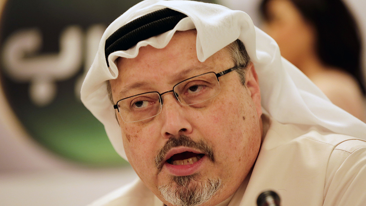 Journalist Jamal Khashoggi speaks during a press conference in Manama, Bahrain, in this Dec. 15, 2014, file photo.
