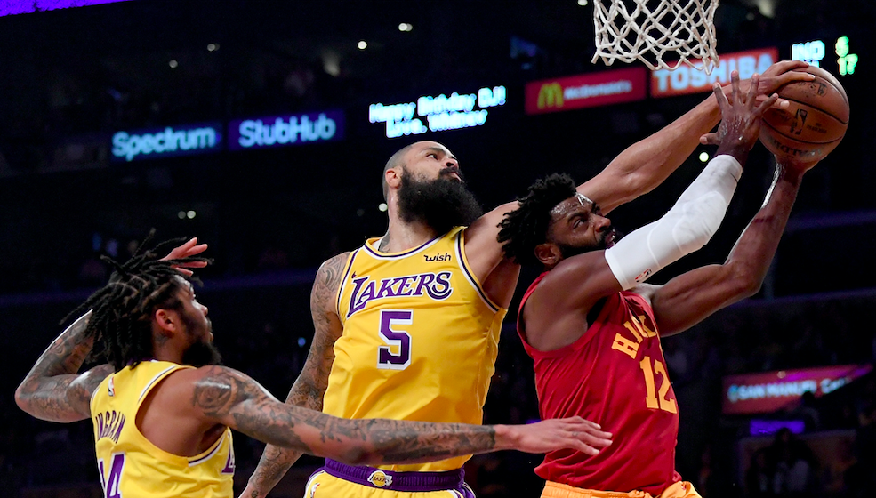 Tyreke Evans #12 of the Indiana Pacers has his shot blocked by Tyson Chandler #5 of the Los Angeles Lakers with Brandon Ingram #14 during the first half at Staples Center on November 29, 2018 in Los Angeles, California. (Photo by Harry How/Getty Images)