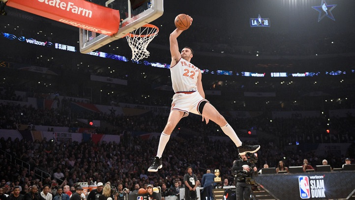 Larry Nance Jr. competes in the 2018 Verizon Slam Dunk Contest at Staples Center on February 17, 2018 in Los Angeles, California.