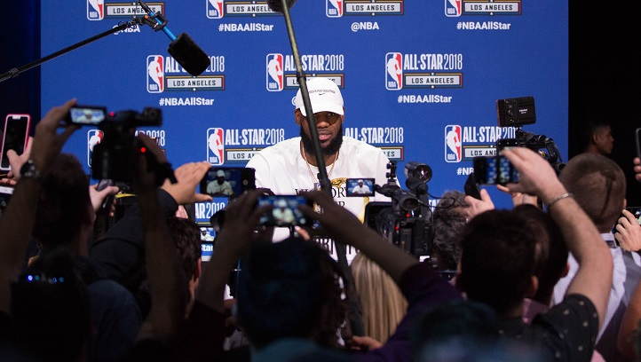 LeBron James speaks about Fox News controversy directed at him at the LA Convention Center on Feb. 17, 2018 in Los Angeles, California. (Shahan Ahmed)