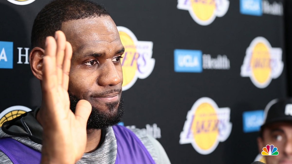 LeBron James waves to the cameras at Los Angeles Lakers' shootaround ahead of the NBA superstar's regular season home debut on Oct. 20, 2018. (Shahan Ahmed/NBCLA)